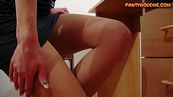 Secretary Daryl Taking Off Dress To Show Off Tits,Pantyhose and Heels