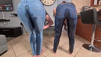 2 PISS whores desperate to pee   pee in blue jeans