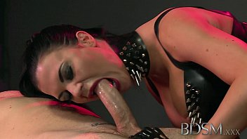 BDSM XXX Mistress treats her sub boy to a blowjob a face full of pussy