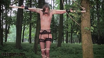 Outdoor self bondage Teen tied up and abused by her bondage master
