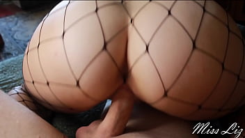 Big Ass Girl In Fishnet And Leather Skirt Riding Cock