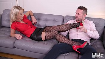 Loads of cum all over Licky Lex's sexy feet gives foot fetishist pleasure