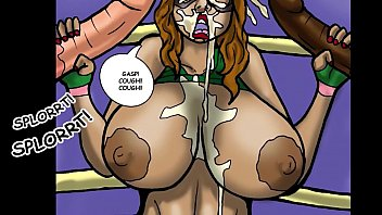 Big tit Superheroine takes two huge cocks (Comic)