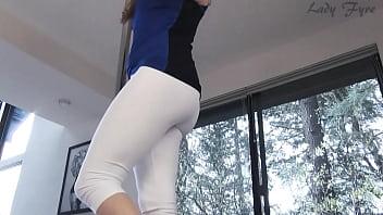 White yoga pants ass worship leg tease Lady Fyre