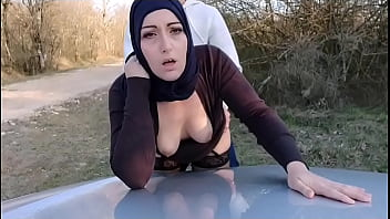 This muslim bitch gets her pussy and ass filled while her husband waits for her in the car !?
