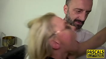 Throat fucked busty sub gets plowed