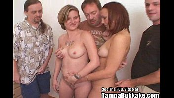 Fuck tramps - Two party sluts get some fucking bukkake