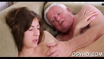 Hot juvenile babe banged by old guy
