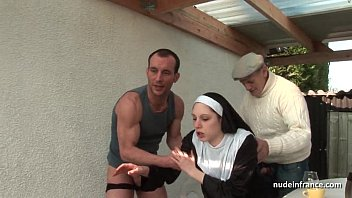 Clothed and nude women comparison - Young french nun fucked hard in threesome with papy voyeur