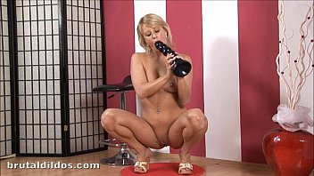 Amateur blonde Iris rides and cums from a massive dildo 7 min
