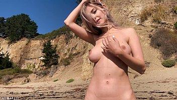 Blonde cutie takes a cum load on her belly after public sex on a beach - Eva Elfie