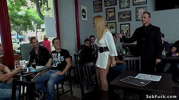 Blonde sucking outdoor and in public bar