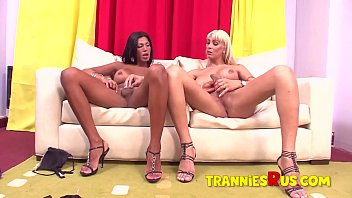 """Hardcore Latina Shemale on Hot Blonde Tranny Anal Action <span class=""""duration"""">16 min</span>"""