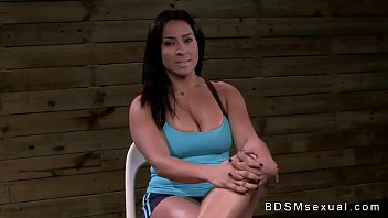 Busty brunette Becca Diamond in bdsm deep throat fucked by huge dick