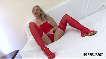 Foxy bombshell spreads her twat and enjoys hardcore sex