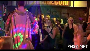 Very sexy gang bang in club