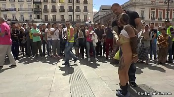 Busty petite Spanish sub in public