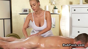 Huge tits masseuse rides big dick in reverse co...