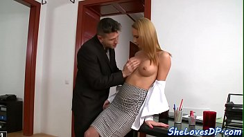 DP loving babe gags on a huge cock