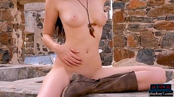 Natural brunette MILF babe Willa Prescott outdoor striptease