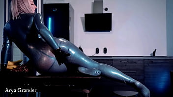 Latex Rubber Teasing Video, Arya Grander in blue catsuit, hot vid full hd quality