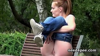 Gorgeous Blonde  Pissing On A Bench Outdoor ench Outdoor