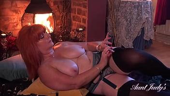 AuntJudys - Busty 56yo Ginger Beauty Melanie in Stockings & Lingerie
