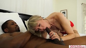 Blonde granny banged by big black cock