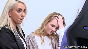 Sexy MILF thief Kylie Kingston and teen dauther Natalie Knight shared with the cops dick after getting arrested because of stealing.