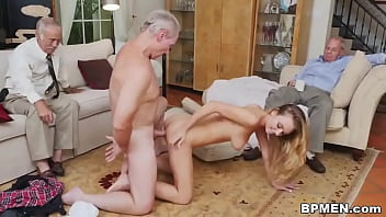 Blonde cutie Molly Mae is shared between some old creeps