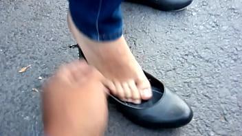 Asshole henry flats - Lindos pies en flats negras de mi hermosa chica