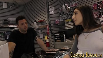 Babe at gloryhole gets anally fucked