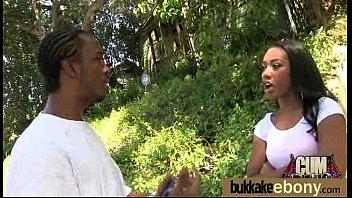 Ebony in a huge bukkake 6