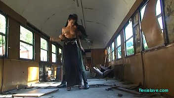 Bdsm model Alex Zothberg nude, oiled, captive and whipped in train 4 min