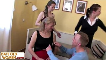 Mature ladies orgy 3 kinky grannies on one young cock