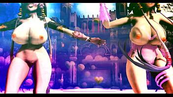 Half naked girls dancing under rasputin...