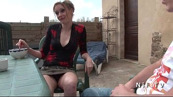 Clothed women embarrass nude men - French mom seduces younger guy and gets sodomized outdoor