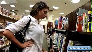 Sexy brunette amateur Darcie show her natural big round boobs in public