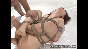 Uncensored rope bondage game Asian beauty tied up and fucked with a good orgasm