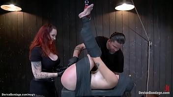 Hot ass brunette caned on Sybian