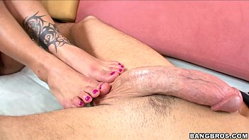 Rubbing Her Mouth and Toes all over this Cock 5 min