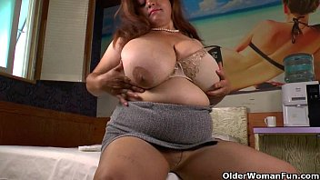 Bbw wearing pantyhose - Big titted milf laura fulfills a deep need for masturbation