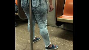 Big ass lady enjoying in NYC subway