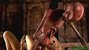 Graveyard's Horny Guardian. Monster porn horrors 3D 2 min
