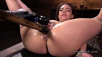 Nylon fetish bondage Hogtied brunette fucked with huge dildo