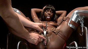 Gagged tied ebony sub gets pussy rubbed 5 min
