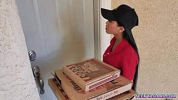 Two Horny Teens Ordered Some Pizza And Fucked This Sexy Asian Delivery Girl.