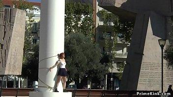Gagged redhead is disgraced in public
