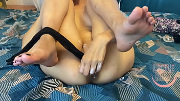 Stuffed stockings in pussy before jerking off with a vibrator – Little Nika