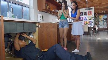 BANGBROS - Teen Lesbian Sluts Amara Romani And Izzye Belle Threesome With Ricky Johnson